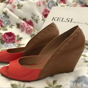 KELSI Coral & tan leather open toe wedges